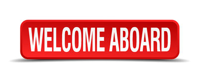 Welcome aboard red 3d square button Royalty Free Stock Images