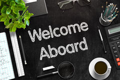 Welcome Aboard - Text on Black Chalkboard. 3D Rendering. Royalty Free Stock Photography