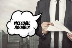 Welcome aboard text on speech bubble with Royalty Free Stock Image