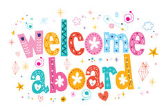 Welcome aboard typography lettering decorative text Stock Image