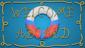 Welcome aboard 01. Vector background. Welcome plate. Lifebuoy and inscription Welcome aboard royalty free illustration