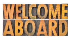 Welcome aboard in wood type Royalty Free Stock Image