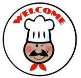 Welcome African American  Chef Face Circle Royalty Free Stock Image