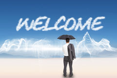 Welcome against energy design over landscape Stock Photo