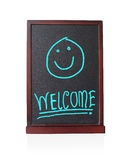 Welcome alphabet with happy children on chalkboard Stock Photography