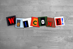 Welcome - art design / sign. Letters on tiles stock images