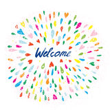 Welcome artistic banner with splashes and hearts Royalty Free Stock Images