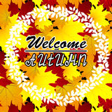 Welcome Autumn Background. Autumn leaves. You can place Your text in the center. Stock Photos