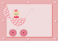 Welcome baby. Frame illustration for baby girl Royalty Free Stock Photo