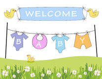 Welcome baby announcement. Baby arrival announcement with clothes line and birds holding a banner Stock Image