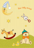Welcome, baby announcement card. Welcome baby announcement card with toys Royalty Free Stock Images