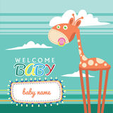 Welcome Baby Born Greeting Card Cute Stock Image