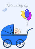 Welcome Baby Boy. Little baby boy in stroller Royalty Free Stock Images