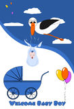 Welcome Baby Boy. Card with stork and stroller Royalty Free Stock Images