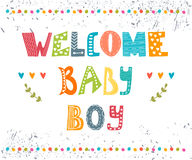 Welcome baby boy. Baby boy arrival postcard.  Stock Photo