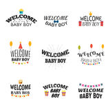 Welcome baby boy. Baby boy arrival postcards. Baby shower card d Stock Photo