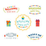 Welcome baby boy. Baby boy arrival postcards. Baby shower design Stock Images