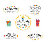 Welcome baby boy. Baby shower design. Baby boy arrival postcards Stock Images