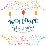 Welcome baby boy. Baby shower greeting card. Cute baby boy showe Royalty Free Stock Image