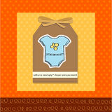 Welcome baby  boy card with funny clothing Stock Images