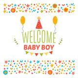Welcome baby boy shower card. Arrival card. Cute postcard. Annou Stock Images