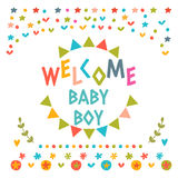 Welcome baby boy shower card. Cute postcard with decorative elem Stock Images