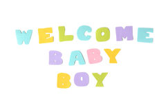 Welcome baby boy text on white background Royalty Free Stock Image