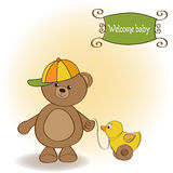 Welcome baby card with boy teddy bear Royalty Free Stock Photos