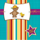 Welcome baby card with boy teddy bear Royalty Free Stock Images