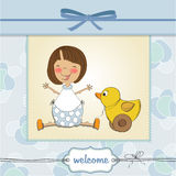 Welcome baby card with girl Stock Photography