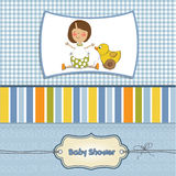 Welcome baby card with girl Stock Images