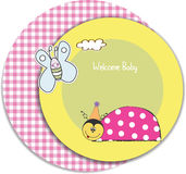 Welcome baby card with ladybug Stock Photography