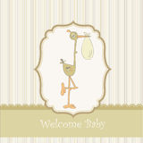 Welcome baby card with stork. Baby arrival announcement card with stork Stock Photos