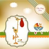 Welcome baby card with stork Royalty Free Stock Photography