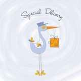 Welcome baby card with stork Stock Photos