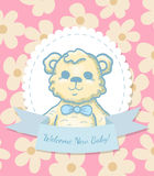 Welcome Baby Card with Teddy Bear Royalty Free Stock Photos