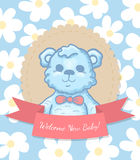 Welcome Baby Card with Teddy Bear Royalty Free Stock Photography