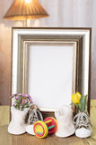 Welcome baby gift frame decorated. Welcome baby gift with flower frame decorated Royalty Free Stock Photography