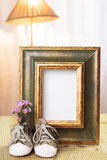 Welcome baby gift frame decorated. Welcome baby gift frame with flower Royalty Free Stock Photography