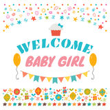 Welcome baby girl. Announcement card. Baby shower greeting card. Royalty Free Stock Photography