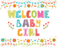 Welcome baby girl. Baby girl arrival card.  Stock Images