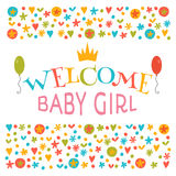 Welcome baby girl. Baby girl shower card. Announcement card. Bab Stock Photo