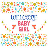 Welcome baby girl. Baby girl shower card. Baby girl arrival post Stock Image