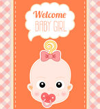 Welcome Baby Girl Card Royalty Free Stock Photo