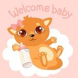 Welcome Baby Girl. Newborn Baby Cat. Welcome Baby Invitation. Welcomу Baby Card. Newborn Cat Care. Newborn Cat Food. Baby Shower Invitation stock illustration