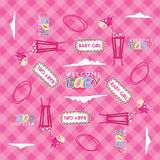 WELCOME BABY GIRL SEAMLESS PATTERN Stock Images