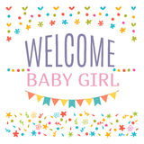 Welcome baby girl shower card. Arrival card. Announcement card. Stock Photos