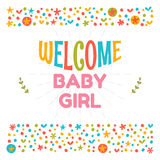 Welcome baby girl shower card. Arrival card. Cute postcard. Anno Stock Image