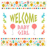 Welcome baby girl shower card. Arrival card. Cute postcard with Royalty Free Stock Images