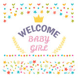 Welcome baby girl shower card. Arrival card. Cute postcard Stock Images